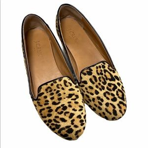 J.Crew Cora Leopard Calf Hair Loafers Flats Shoes